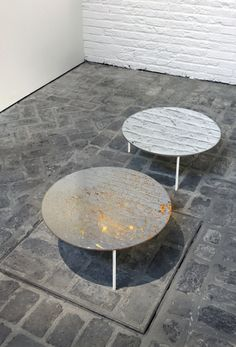 Architects De Vylder Taillieu & Serge Vandenhove at gallery Valerie Traan Antwerp  Mirror tables | polished stainless steel
