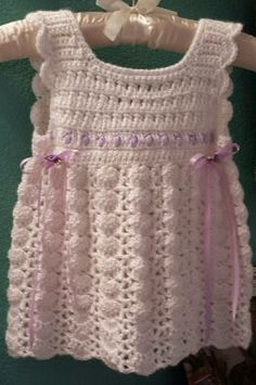 hand Crochet baby  dress  0 to 3 months, white with lavender trim