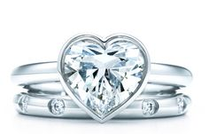 Tiffany Heart Engagement Ring + Diamond Band