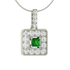 Princess-Cut Emerald Necklace in 14k White Gold with SI Diamond