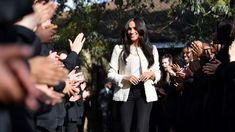 Www.HollandStreet.co Meghan Markle Is Spotlighting Ethical Fashion In Her Second Act #sustainable #ecofashion #style Boucle Jacket, Fringe Jacket, Princess Meghan, Prince Harry And Meghan, Concert Outfit Winter, Barbour Jacket, Lucky Number, Tracy Reese, East London