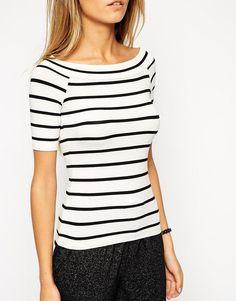 ASOS   ASOS Top In Stripe With Off Shoulder Bardot Neckline at ASOS