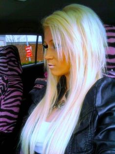 blonde hair with pink