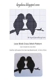 Krydasu: Love Birds Cross Stitch Pattern