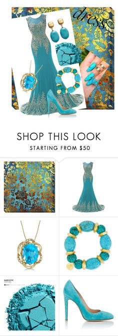 """""""Blue and gold galore"""" by ashleyhuang68 ❤ liked on Polyvore featuring Allurez, Devon Leigh, Urban Decay, Gianvito Rossi and Kenneth Jay Lane"""