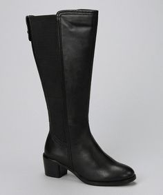 c6bc64ede6b David Tate Black Leather Wendy Wide-Calf Boot