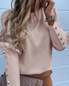 MoneRffi Puff Shoulder Blouse Shirts Office Lady New Autumn Metal Buttoned Detail Blouses Women Pineapple Print Long Sleeve Tops Look Fashion, Fashion Outfits, Parisian Fashion, Bohemian Fashion, Fashion Fashion, Retro Fashion, Latest Fashion, Fashion Blouses, Trending Fashion