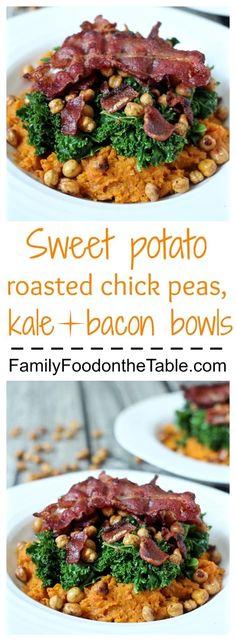 Mashed sweet potatoes topped with sautéed kale, roasted chick peas and crispy bacon!