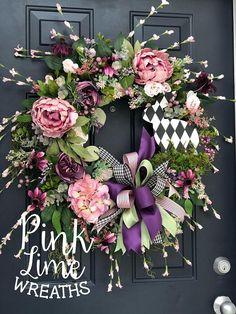 Spring wreath for front door spring decor spring door