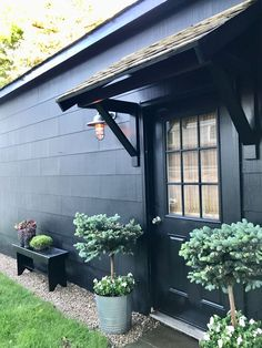 Amazing Black House Exterior Design Ideas For Your Inspiration. If you are looking for Black House Exterior Design Ideas For Your Inspiration, You come to the right place. House Designs Exterior, Garage Door Design, Black House Exterior, Exterior Design, Portico, Black Exterior, Garage Decor, Door Overhang, Garage Floor Paint