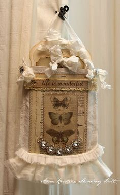 Anne's paper fun: Happy Birthday to Melissa Frances. Happy Birthday Melissa, Diy And Crafts, Paper Crafts, Shabby Chic Cards, Fabric Art, Fabric Books, Wall Hanger, Hangers, Butterfly Cards