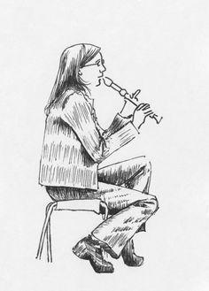 29. septembra 2015. dievča s flautou. panská ulica, bratislava. pero.