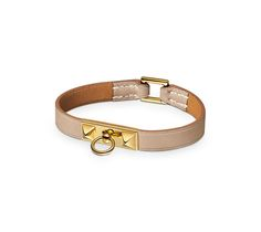 """Micro Rivale Hermes micro leather bracelet (size XS) Clay grey calfskin  Gold plated hardware, double tour, 14.75"""" long, 2.5"""" diameter."""