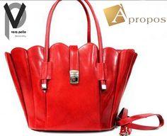 Vera Pelle Echt Leder Shopper 30cm Shopping Bag Modern Rot Trageriemen Apropos