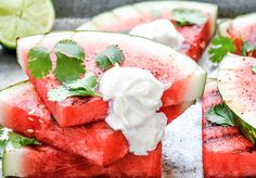 Spicy Grilled Watermelon with Crème Fraîche by floatingkitchen #Watermelon #Grilled #Spicy #Light #Healthy