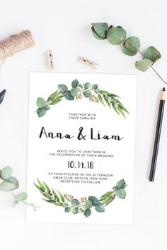 Give the perfect first statement of your big day to your friends and family with this watercolor eucalyptus wedding invitation. It's perfect for any outdoor wedding. Simply download, edit, trim and print! Sign up for our newsletter at www.papersizzle.com and get 15% off!