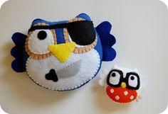 Pirate Owl Eco Friendly Plush Toy by vivikas on Etsy