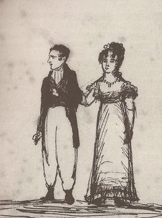 A pen and ink sketch of Lord Byron and Annabella Milbanke, newly wed, by Byron's former lover and cousin of the bride, Lady Caroline Lamb. Lamb sketched many incidents in and participants of her life, including many of Byron. Lord Byron, Romantic Period, Sad And Lonely, Shady Lady, Invader Zim, Romanticism, South Park, Tumblr, Ink