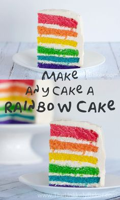 You can make any cake a rainbow cake – you just need a basic white or yellow cake, lots of bowls, a little patience, and the colours of the rainbow. Rainbow Cake Recipe From Scratch, Cake Recipes From Scratch, Rainbow Layer Cakes, Cake Rainbow, Rainbow Birthday, Rainbow Baby, Cake Birthday, 5th Birthday, Birthday Parties