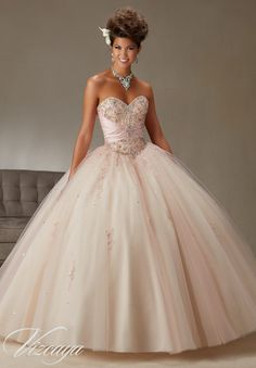 Quinceanera dresses by Vizcaya Two-Tone Satin and Tulle Ball Gown with Beading Matching Bolero. Colors: Blush/Champagne, Teal/Aqua, Cerise/Princess Pink, White.