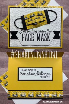 Stinkin' Cute Face Mask Card Diy Mask, Diy Face Mask, Face Masks, Cool Cards, Diy Cards, Diy Videos, Paper Face Mask, Get Well Cards, Cute Faces