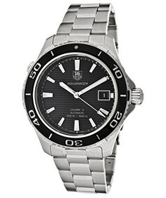 Shop for Tag Heuer Men's 'Aquaracer Black Dial Stainless Steel Watch - silver. Get free delivery On EVERYTHING* Overstock - Your Online Watches Store! Sport Watches, Cool Watches, Watches For Men, Tag Heuer Automatic, Automatic Watch, Best Watch Brands, Online Watch Store, Adjustable Bracelet, Stainless Steel Watch