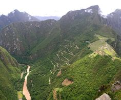 River and winding road leading up to Machu Picchu