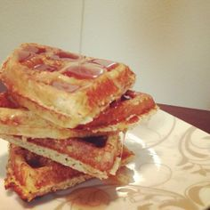 Protein Waffles using ff cottage cheese, oat bran, egg, put through food processor