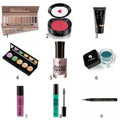seleção de maquiagens boas e baratas (até R$ 50,00)