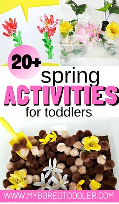 Spring activities for toddlers - Spring crafts, Spring sensory bins, Spring outdoor and indoor play ideas - perfect for 1 year olds 2 year olds and 3 year olds Activities For 1 Year Olds, Crafts For 2 Year Olds, Easter Activities, Montessori Activities, Spring Activities, Craft Activities For Kids, Infant Activities, Kids Crafts, Educational Activities