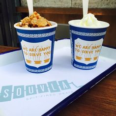 We are happy to be served @souvlasf #greekfroyo