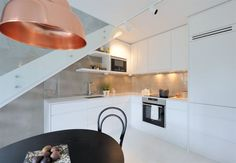 the kitchen in the attic apartment