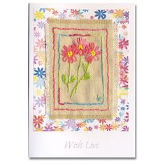 Hand Embroidered Greeting Card Pink Daisies