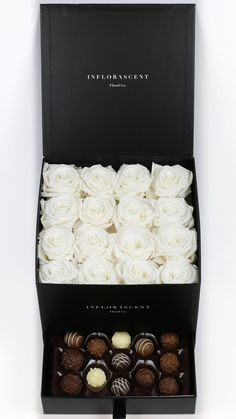 White Roses in a Box! Luxury gift with chocolates! Real roses that last a year!
