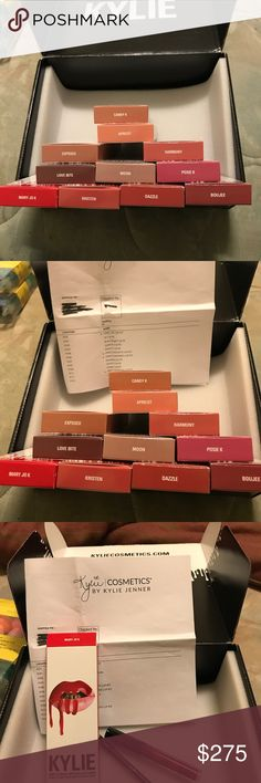 Kylie Lip Kits Bundle Hi! I'm selling these brand new and unused lip kits individually in my closet and I can do a bundle too! It includes: Mary Jo K, Posie K, Kristen, Candy K, Exposed, Apricot, Dazzle, Harmony, Love Bite, Boujee, and Moon Kylie Cosmetics Makeup