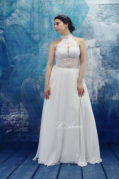 Custom Soft Lace Sheer Top Wedding Dress with High Neck by LAmei