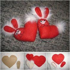 Felt Valentine Heart Bunny DIY   www.FabArtDIY.com