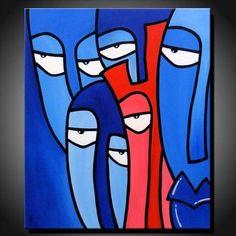 out of the blue merv unique contemporain tableau - Tableau Abstrait Color