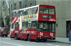 and both carried overall adverts for the Evening Hearld Newspaper in is seen on Lower Abbey Street May 1993 scrolled for a 37 Buses, Dublin, Trains, Transportation, Ireland, Irish, Beautiful, Vintage, Irish Language