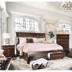 Shop for Gracewood Hollow Yep Cherry Finish Solid Wood Bedroom Set. Get free delivery at Overstock - Your Online Furniture Shop! Get in rewards with Club O! Cherry Wood Bedroom, Wood Bedroom Sets, King Bedroom Sets, Bedroom Furniture Sets, Home Decor Bedroom, Furniture Decor, Bedroom Ideas, Master Bedroom, Walnut Bedroom