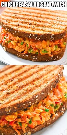 This delicious and healthy Chickpea Carrot Salad Sandwich is a scrumptious blend. - This delicious and healthy Chickpea Carrot Salad Sandwich is a scrumptious blend of seasoned chickp - Vegetarian Lunch, Vegetarian Recipes, Healthy Recipes, Vegan Lunches, Carrot Recipes, Healthy Drinks, Healthy Snacks, Healthy Lunch Ideas, Salat Sandwich