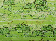 Apple Green Fabric Full Yard Cotton Landscape by MariposaTextiles, $30.00