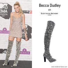 Becca Dudley en cuissardes signées Scottacus Anthony au 24th MTV Europe Music Awards à Londres