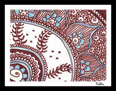 "Greeting Art Card w/envelope, ""Henna Corner,"" by Rielle 5 1/2"" x 4 1/4"" on Etsy, $4.99"