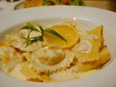 Lobster Ravioli with Lemon-Saffron Cream Sauce