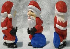 """Santa just got caught in the act. This is a piece I carved (11/23) for a patron. I hope he likes it... Basswood, 5"""" tall."""