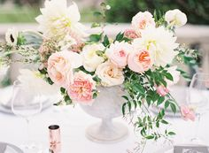 Pink Floral Centerpieces   Photography: Kayla Barker Fine Art Photography - www.kaylabarker.com  Read More: http://www.stylemepretty.com/2015/01/22/romantic-pastel-copper-inspiration-shoot/