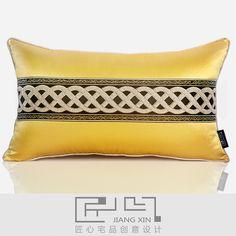 pillow 匠心宅品 新中式样板房/软装靠包抱枕 姜黄仿丝双拼腰枕(不含芯