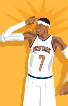 Carmelo Anthony 'Three to the Dome' Caricature Art