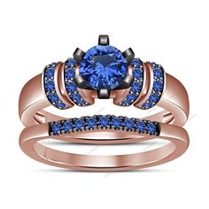 1.36 CT. Brilliant Rd Blue Sapphire Surface Prong Set Women's Bridal Ring Set #aonejewels